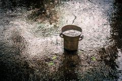 Cubo en la lluvia Imágenes de archivo libres de regalías