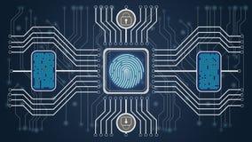 Cubo futuro Backgroub Conferma biometrica di personalità e di controllo Schema di controllo delle impronte digitali illustrazione di stock
