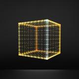 cubo Hexahedron regular Sólido platónico Poliedro regular, convexo estructura de la conexión 3D Elemento geométrico del enrejado stock de ilustración
