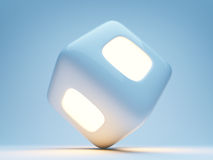 Cubo iluminado 3d no fundo azul Foto de Stock