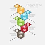 Cubo Infographic dos desenhos animados Imagem de Stock Royalty Free