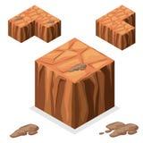 Cubo isometrico del paesaggio del blocchetto senza cuciture del gioco Fotografie Stock