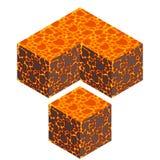 Cubo isometrico della lava Immagine Stock