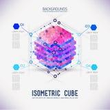 Cubo isometrico di concetto astratto Fotografie Stock Libere da Diritti