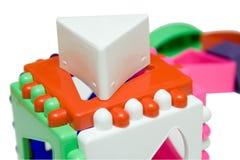 Cubo logico del bambino su priorità bassa isolata Fotografia Stock