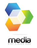 Cubo Logo Concept de los medios de publicidad 3D Fotos de archivo
