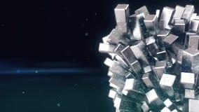 Cubo metálico abstrato o objeto 3d mineral dado forma cresce, molde do título ilustração do vetor