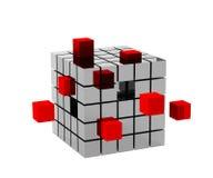 cubo metálico 3d Fotografía de archivo