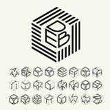 Cubo moderno del monograma, hexágono de las tiras, y tres letras inscritas Más un sistema de letras para crear el logotipo Fotografía de archivo libre de regalías