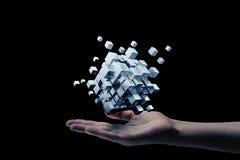 Cubo na mão masculina Meios mistos Imagem de Stock