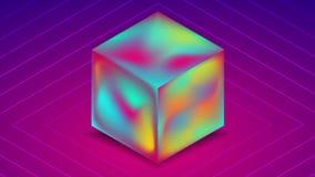 Cubo olografico astratto del liquido 3d su fondo porpora blu Animazione del video di tecnologia illustrazione di stock