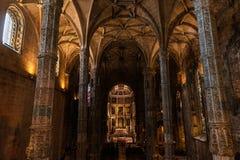 Cubo principal de la iglesia del monasterio de Jeronimos Foto de archivo libre de regalías