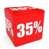 cubo rojo de la venta 3d descuento del 35 por ciento Imagen de archivo libre de regalías