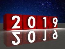 cubo rojo y fuegos artificiales del Año Nuevo 2019 en fondo stock de ilustración
