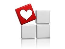 Cubo rosso con il segno del cuore sulle caselle Fotografia Stock Libera da Diritti