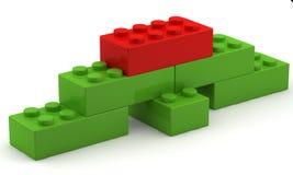 Cubo rosso unico alla parte superiore della piramide illustrazione di stock