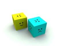 Cubo triste e felice 2 Fotografie Stock Libere da Diritti