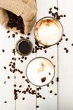 Cubo in un vetro di caffè ghiacciato Fotografia Stock Libera da Diritti