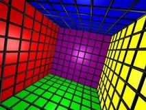 Cubo variopinto 3D con la griglia Fotografie Stock Libere da Diritti