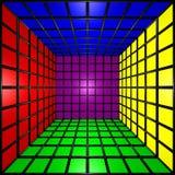 Cubo variopinto 3D con la griglia Fotografia Stock Libera da Diritti