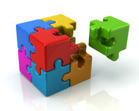 Cubo variopinto di puzzle 3d con un pezzo mancante Fotografia Stock