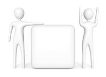 Cubo vazio com os dois homens 3d brancos, ilustração 3d Fotos de Stock Royalty Free