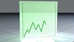 Cubo verde de giro com gráficos animados ilustração do vetor