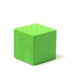 Cubo verde de madeira natural Imagem de Stock Royalty Free
