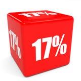 cubo vermelho da venda 3d um disconto de 17 por cento ilustração royalty free