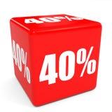 cubo vermelho da venda 3d um disconto de 40 por cento Fotos de Stock