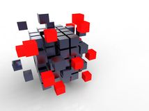 Cubo vermelho junto Imagem de Stock Royalty Free