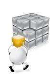 Cubo y carácter anaranjados 3D Imagen de archivo