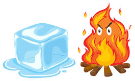 Cubo y fuego de hielo Foto de archivo libre de regalías