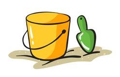Cubo y raspador amarillos ilustración del vector