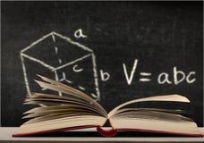 Cuboid. Technical chalkboard white mathematics formula count royalty free stock photo