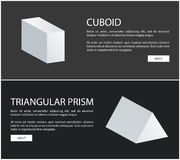Cuboid and Triangular Prism Vector Web Banners Set. Cuboid and triangular prism at web banners set. 3D Geometrical shapes with sample text isolated on black royalty free illustration