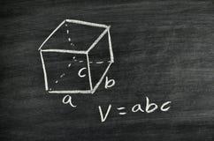 Cuboid volume formula. Written on blackboard royalty free stock photo