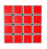cubos 3d no vermelho e isolados em um fundo branco Imagens de Stock Royalty Free