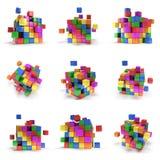 Cubos abstractos 3d conjunto Stock de ilustración
