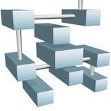 Cubos abstractos de los datos en conexiones de red 3D Fotos de archivo libres de regalías