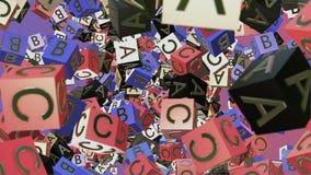 Cubos abstractos del alfabeto del vuelo en diversos colores ilustración del vector