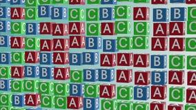 Cubos abstractos del alfabeto en rojo, azul y verde ilustración del vector