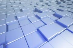 Cubos abstractos Fondo azul con la caja fondo cúbico 3d 3 Foto de archivo libre de regalías