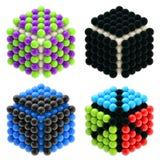 Cubos abstratos construídos das esferas lustrosas isoladas Foto de Stock Royalty Free