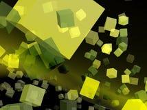 Cubos amarelos para o webdesign Imagens de Stock Royalty Free