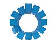 Cubos azuis que agrupam no fundo branco, ilustração 3d Fotografia de Stock Royalty Free