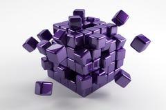 cubos azules 3d caidos abajo en diversas direcciones Refl abstracto imagen de archivo libre de regalías