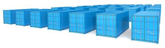 Cubos azules del envío Fotografía de archivo libre de regalías