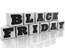 Cubos blancos con el concepto de Black Friday ilustración 3D Imagen de archivo libre de regalías