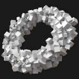 Cubos clasificados al azar que giran en órbita circular ilustración del vector